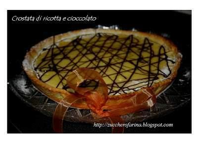 Crostata di ricotta, cioccolato e crema di pistacchio