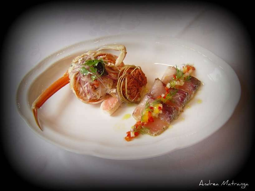 Antipasto di pesce marinato e granchio ricetta petitchef for Ricette antipasti di pesce