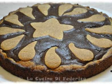 Crostata con frolla al pistacchio e crema al cioccolato