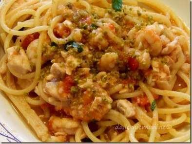 Spaghetti Pesce Spada E Gamberetti Al Pistacchio Ricetta Petitchef